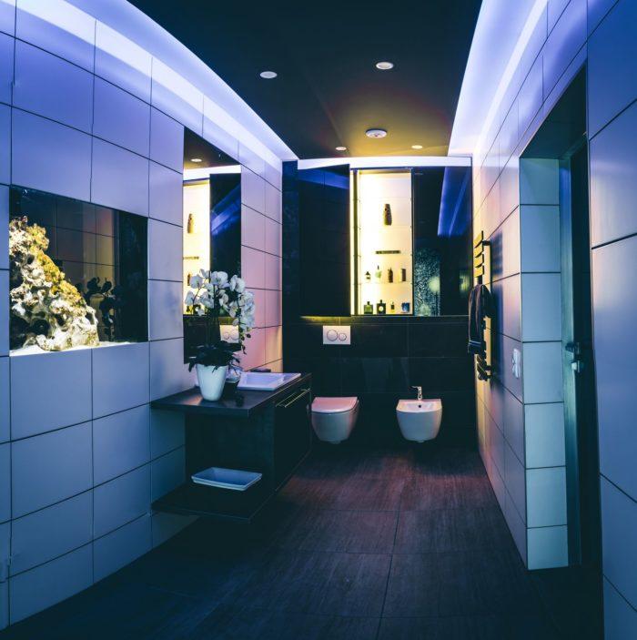 Von der abgehängten Decke über elegant eingelassene Wandschränke und hochwertige Waschtische und Stauräume bis hin zu modernen Wanddekors und Bodenbelägen zeigt diese Ansicht eindrucksvoll, was heutzutage mit Know-how und Fantasie möglich ist - Die Abbildung zeigt sogar ein in die Wand eingelassenes Aquarium.